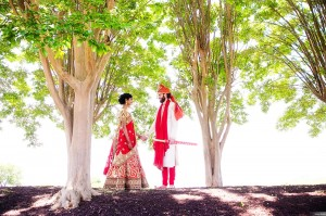 Hindu Wedding Couple among the trees
