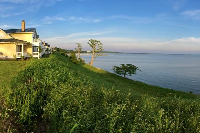 Cottage overlooking James River; exterior shot
