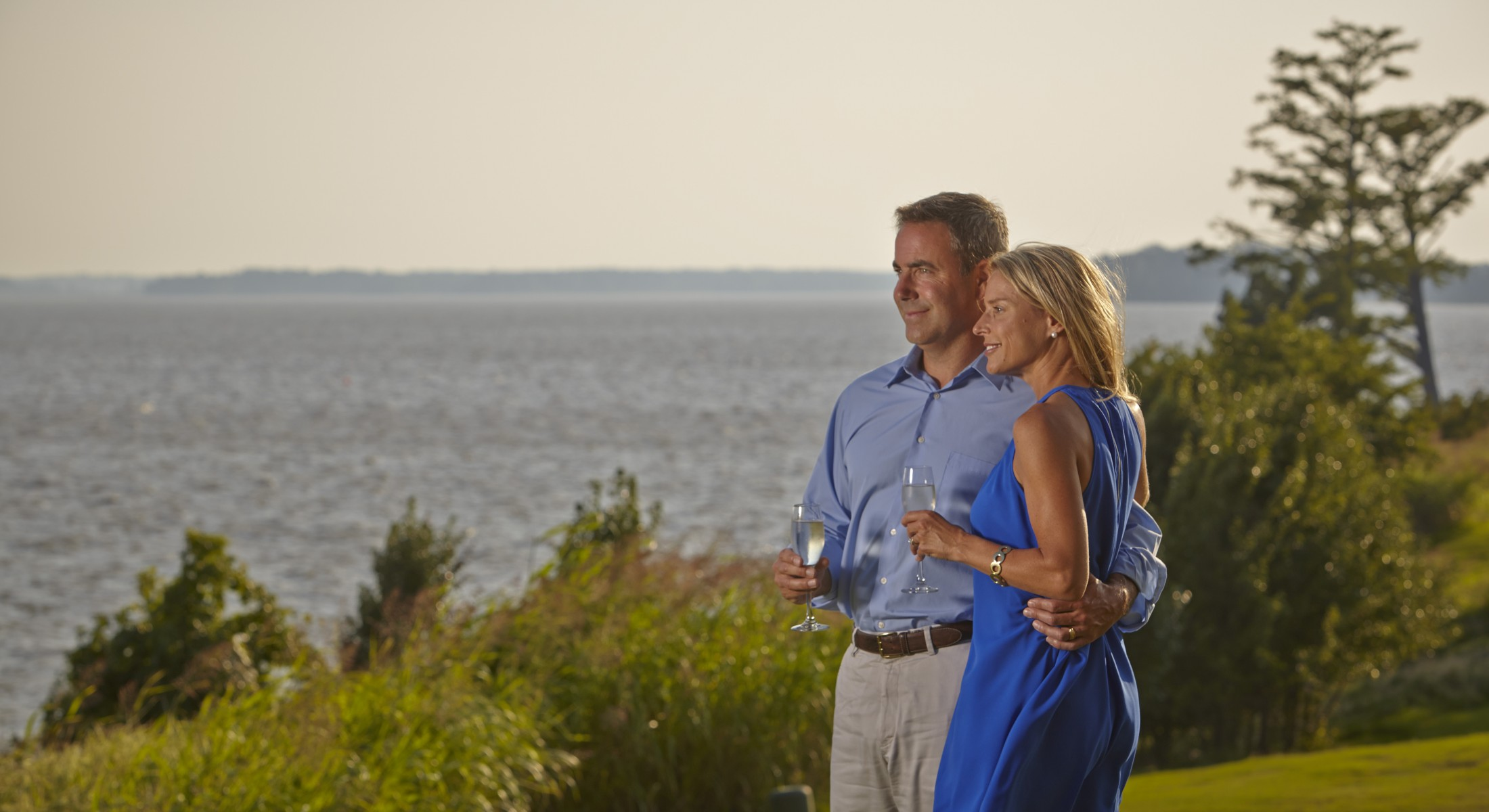 Happy Couple in Blue looking out over the James River
