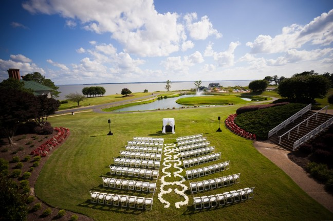 Wedding on BP Lawn; view of james river