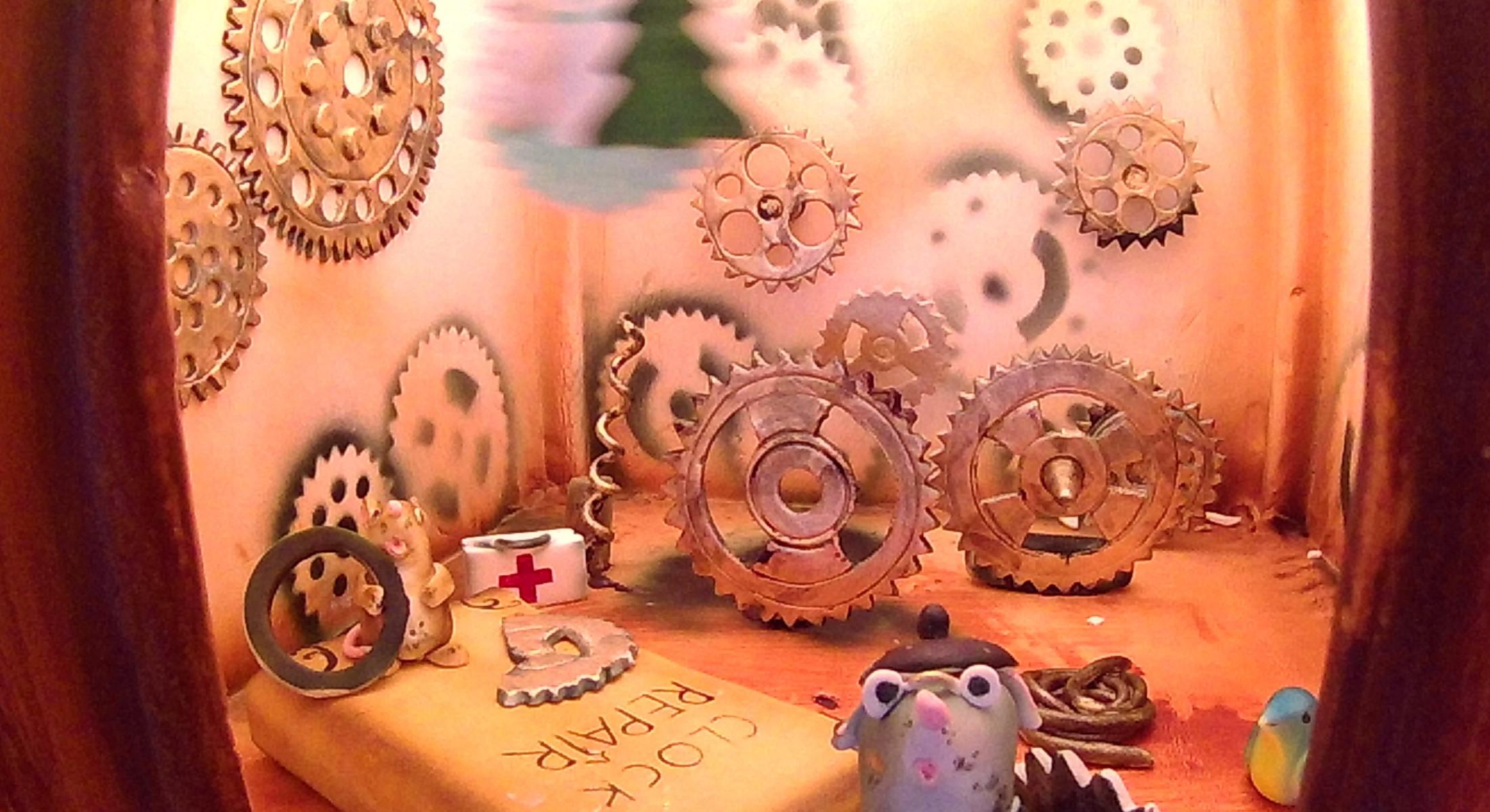 Christmas Clock in Lobby Gingerbread