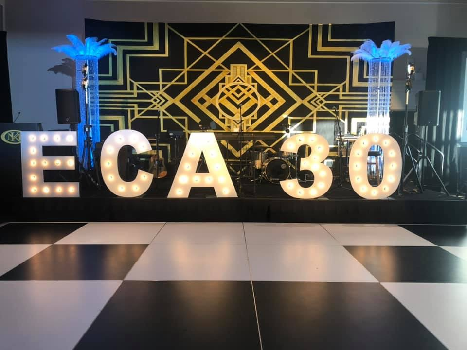 Art Deco backdrop and lighted 3D letters