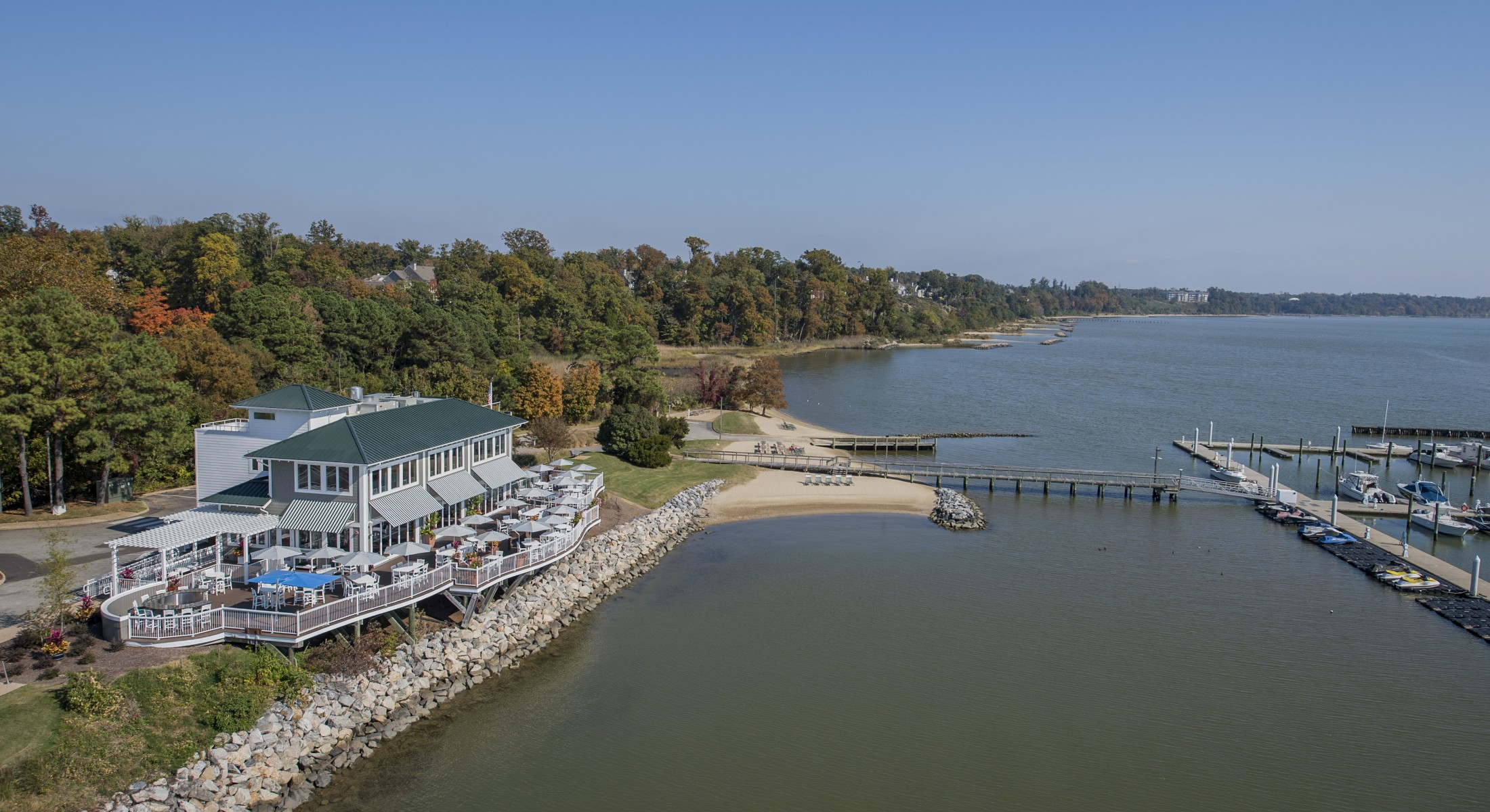 Aerial Shot of James Landing Grille and Marina