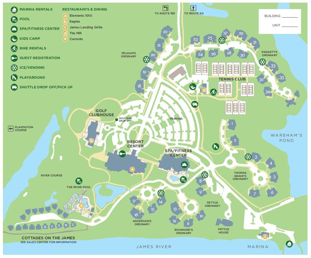 map . kingsmill property map  kingsmill resort williamsburg va