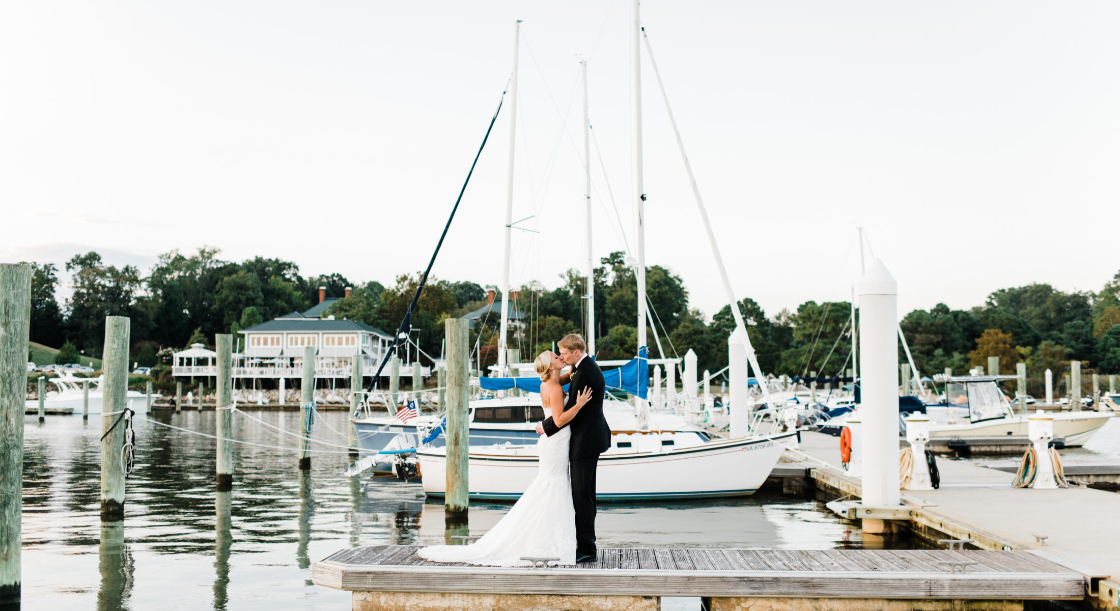 Marina dock wedding photo
