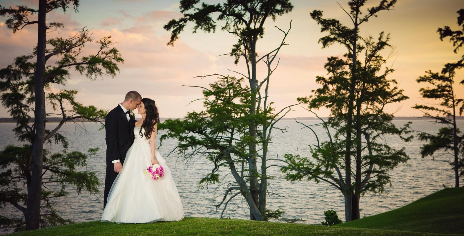 Wedding Couple with James River in background