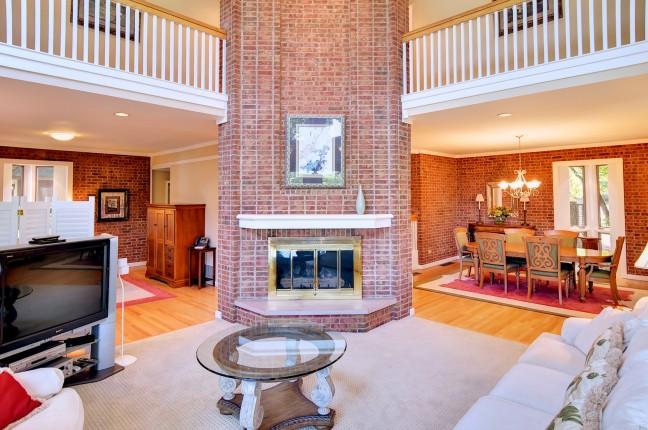 402 living room; fireplace