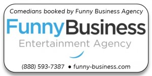 Booked by Funny Business Agency Button