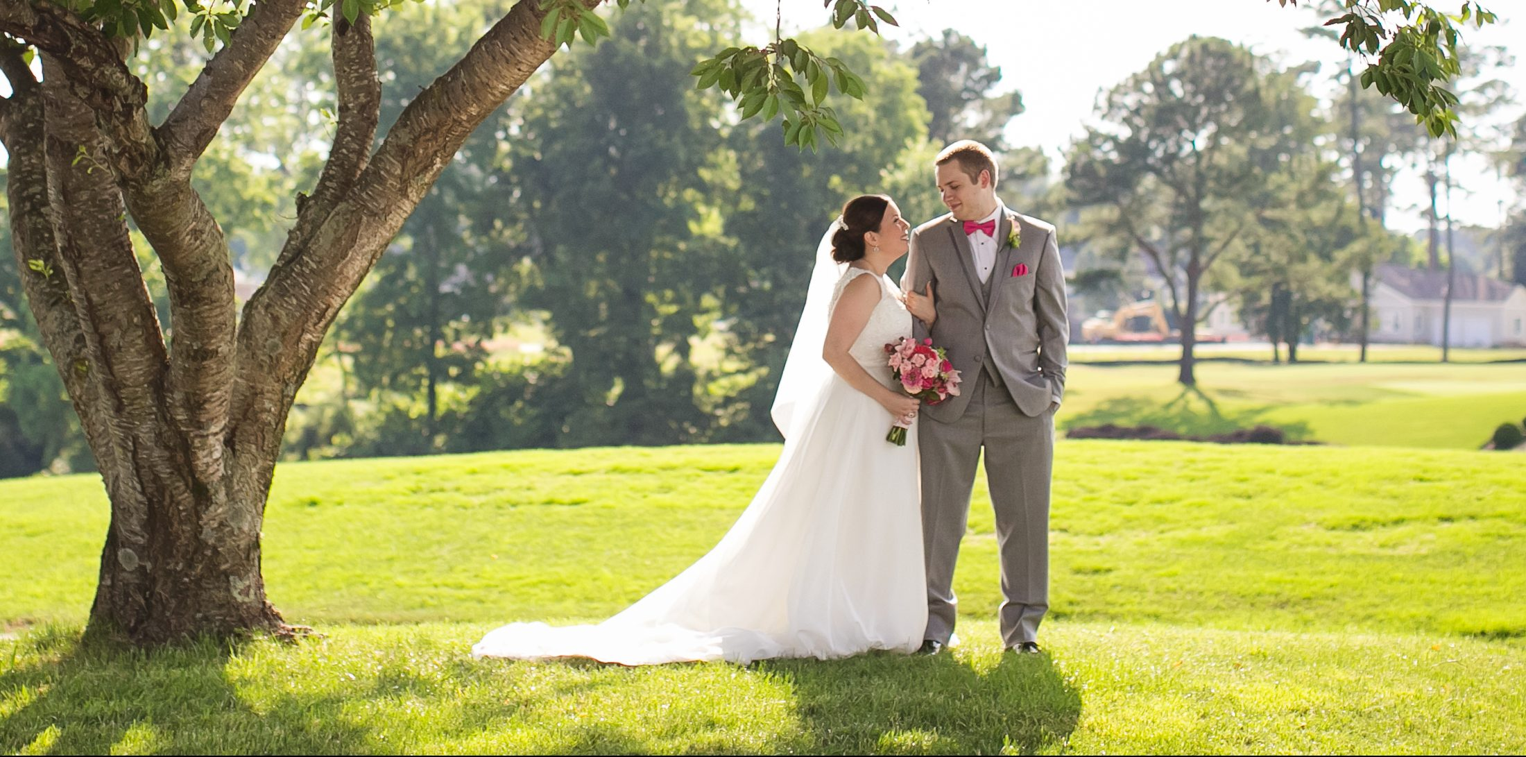 Wedding Couple with Golf Course in Background